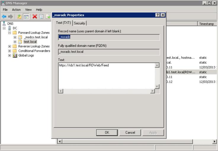 Configure RDS Feed DNS
