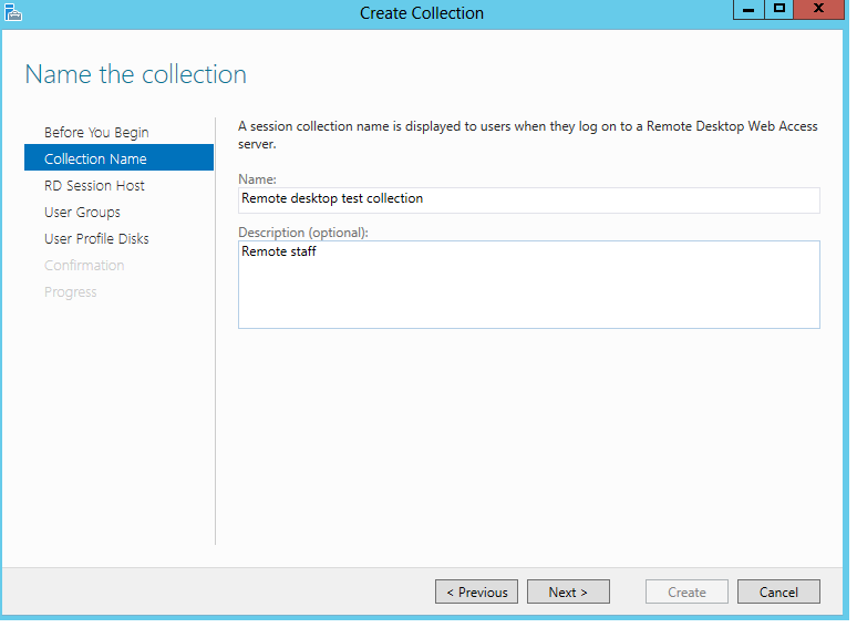 Create a desktop Session Collection3