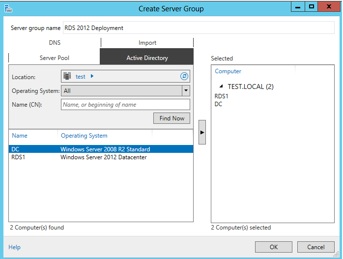 how to create ous in server 2012