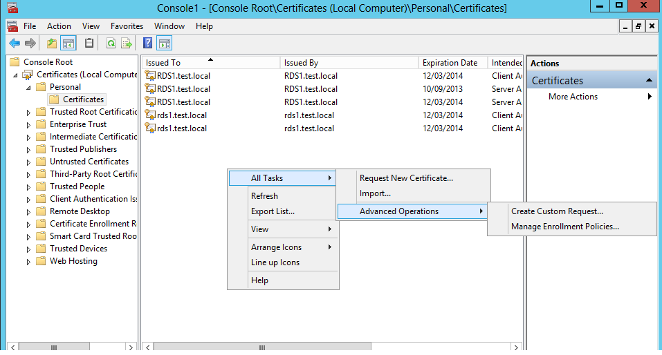 Creating A San Certificate For Use With Rds 2012 Ryan Mangans It Blog