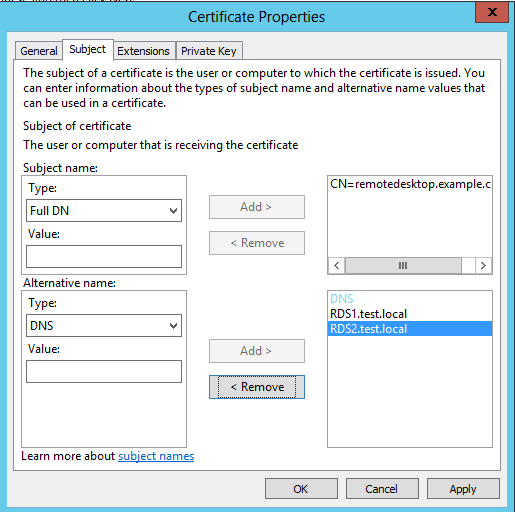 Creating a SAN Certificate for Use With RDS 2012 – Ryan Mangan\'s IT Blog