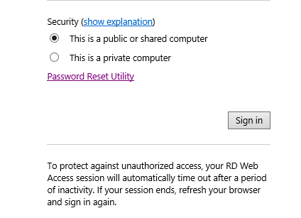 Adding the Password Reset feature to Remote Desktop Web