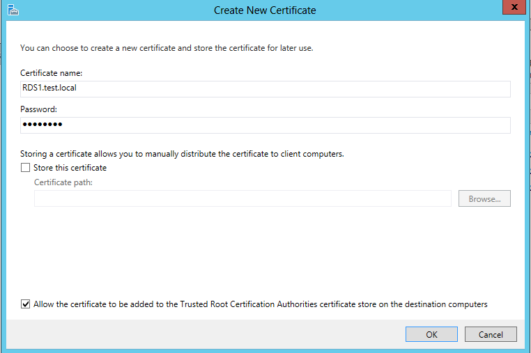 Configuring rds 2012 certificates and sso ryan mangans it blog creating a self assigned certificate using the server fqdn and setting a password yadclub Images