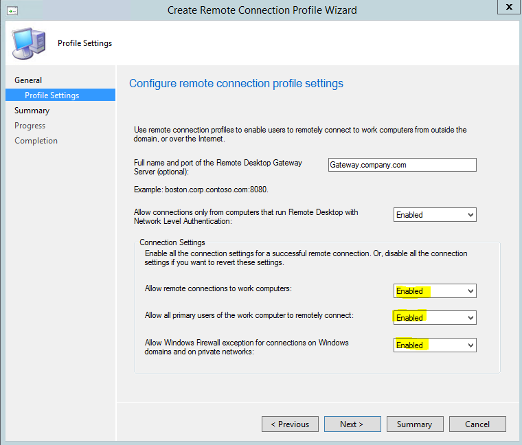 Create Remote Connection Profile2