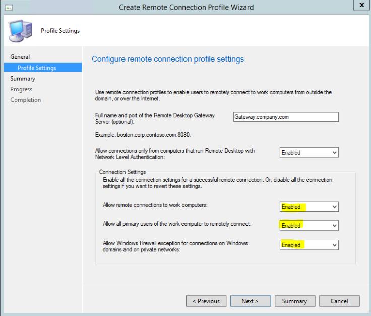 Create Remote Connection Profile2