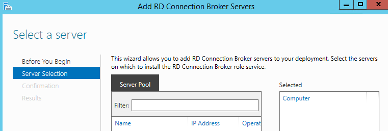Connection broker server pool