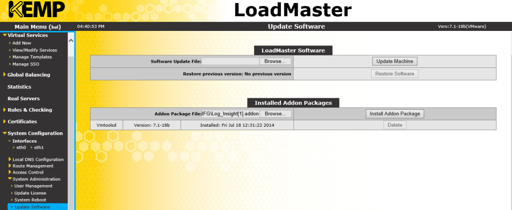 adding the Loginsight Addin pack