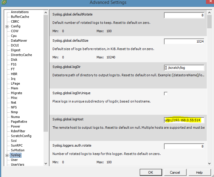 Advance Settings Syslogs