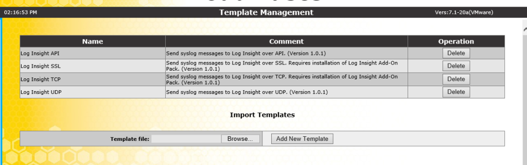 KEMP Log Insight Template after