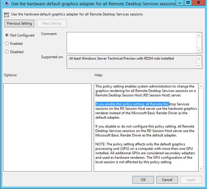 RDS Session Host Hardware Rendering