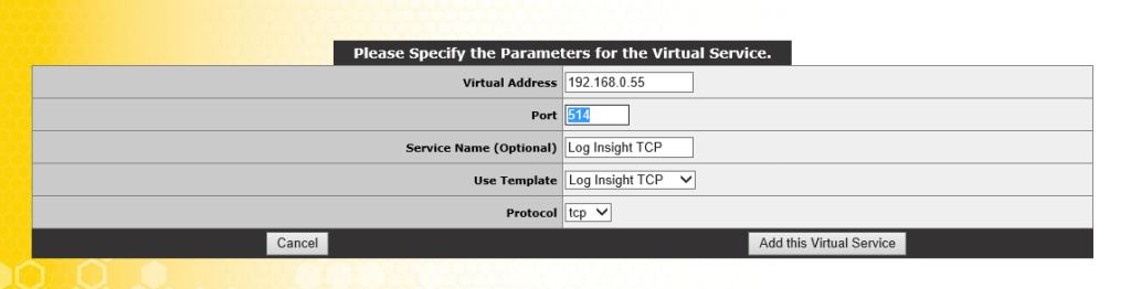 TCP Virtual Service