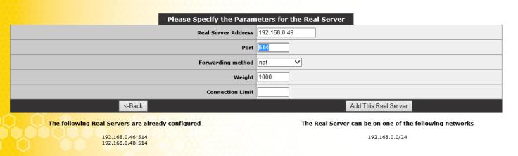 UDP real Servers