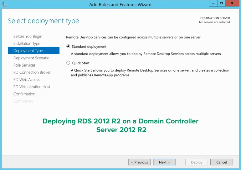 RDS on a Domain Controller Deployment